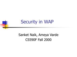 Security in WAP