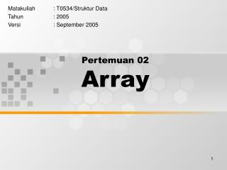 Pertemuan 02 Array