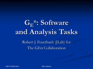 G E n : Software and Analysis Tasks