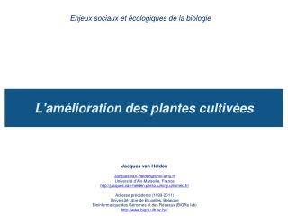 L'amélioration des plantes cultivées