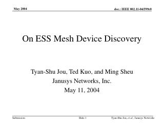 On ESS Mesh Device Discovery
