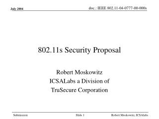 802.11s Security Proposal