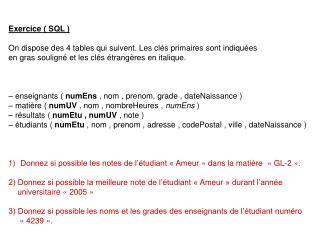 Exercice ( SQL ) On dispose des 4 tables qui suivent. Les clés primaires sont indiquées