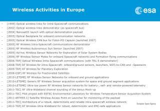 Wireless Activities in Europe