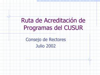 Ruta de Acreditación de Programas del CUSUR