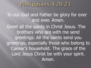Philippians 4:20-23