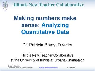 Making numbers make sense :  Analyzing  Quantitative Data