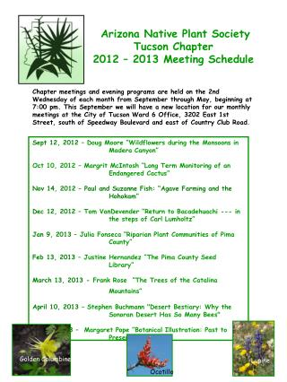 Arizona Native Plant Society Tucson Chapter 2012 – 2013 Meeting Schedule