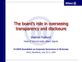 The board's role in overseeing transparency and disclosure