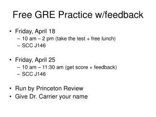 Free GRE Practice w/feedback