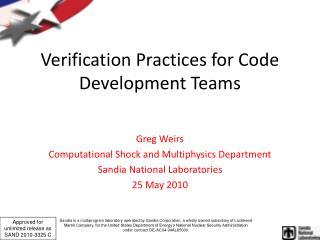 Verification Practices for Code Development Teams