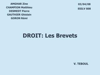 AMGHAR Zine CHAMPION Matthieu DESMEDT Pierre GAUTHIER Ghislain GORON R�mi