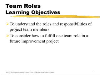 Team Roles Learning Objectives