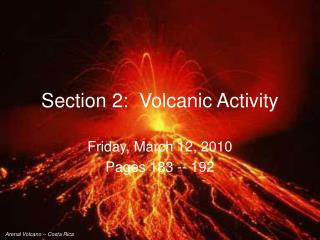 Section 2:  Volcanic Activity