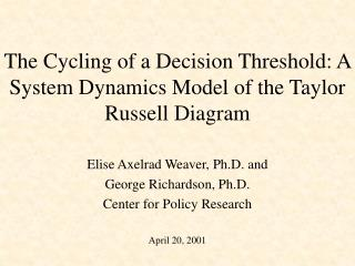 The Cycling of a Decision Threshold: A System Dynamics Model of the Taylor Russell Diagram