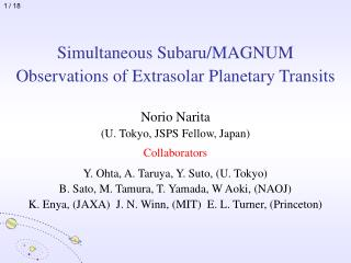 Simultaneous Subaru/MAGNUM Observations of Extrasolar Planetary Transits