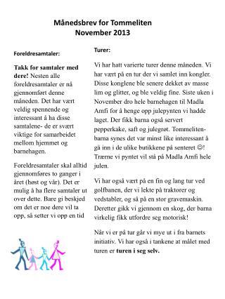 Månedsbrev for Tommeliten November 2013