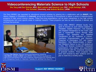 Videoconferencing Materials Science to High Schools