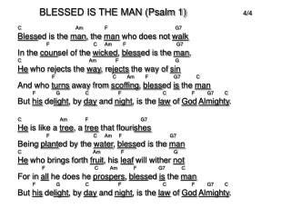BLESSED IS THE MAN (Psalm 1)       		 4/4