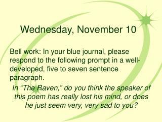 Wednesday, November 10