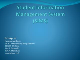 Student Information Management System (SIMS)