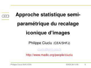 Approche statistique semi-paramétrique du recalage iconique d'images