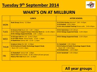 WHAT�S  ON AT MILLBURN