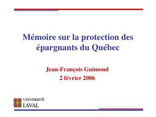 Mémoire sur la protection des épargnants du Québec
