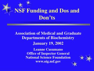 NSF Funding and Dos and Don'ts