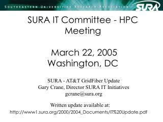 SURA IT Committee - HPC Meeting  March 22, 2005 Washington, DC