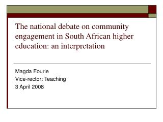 The national debate on community engagement in South African higher education: an interpretation