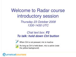 Welcome to Radar course introductory session