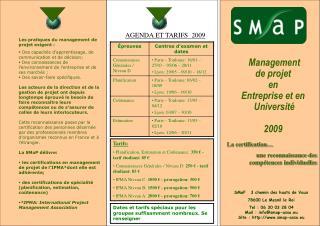 Management  de projet  en Entreprise et en  Université 2009