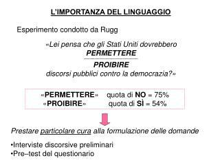 L'IMPORTANZA DEL LINGUAGGIO Esperimento condotto da Rugg «Lei pensa che gli Stati Uniti dovrebbero