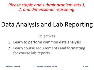 Data Analysis and Lab Reporting