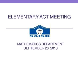 Elementary ACT meeting