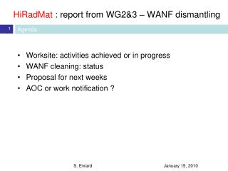 HiRadMat : report from WG2&3 – WANF dismantling