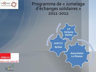 Programme de «Jumelage d'échanges solidaires» 2011-2012