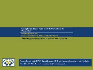 Közfoglalkoztatás és vidéki munkahelyteremtés a Dél-Dunántúlon