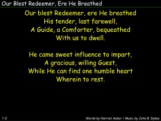 Our Blest Redeemer, Ere He Breathed
