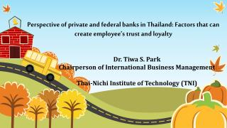 Dr.  Tiwa  S. Park Chairperson of International Business Management