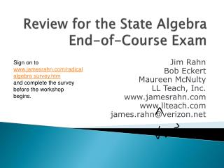 Review for the State Algebra End-of-Course Exam