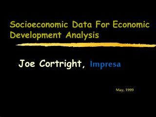 Socioeconomic Data For Economic Development Analysis
