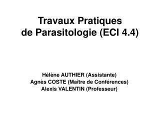 Travaux Pratiques  de Parasitologie (ECI 4.4)