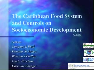 The Caribbean Food System and Controls on  Socioeconomic Development