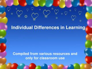 Individual Differences in Learning