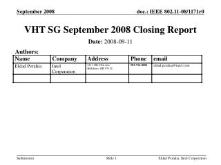 VHT SG September 2008 Closing Report