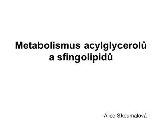 Metabolismus acylglycerolů a sfingolipidů