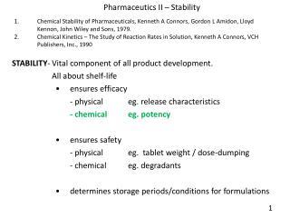 Pharmaceutics  II  – Stability
