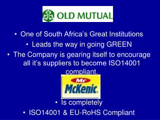 One of South Africa's Great Institutions Leads the way in going GREEN